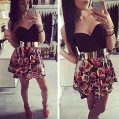 Sexy Strapless High Waist Floral Print Dress  #womenfashion #popular #cute #sexy #elegant T-shirt Crop, Crop Tops, Belted Dress, Knit Dress, Dress Shirt, Sexy Dresses, Short Dresses, Mini Dresses, Pretty Dresses