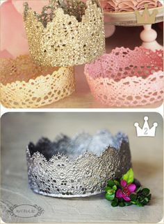 DIY crowns and party hats Crafts To Do, Crafts For Kids, Arts And Crafts, Diy Crafts, Festa Party, Diy Party, Lace Crowns, Diy Crown, Kids Dress Up
