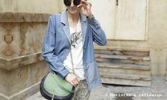#MiniLuna #Double #green #blue #leather @Mati Salvaères à réflexion