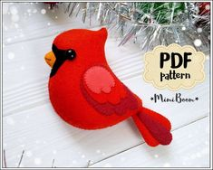 Cardinal ornament pattern Christmas cardinal pattern felt Cardinal pattern PDF Christmas ornaments felt pattern Advent calendar tutorial – My Unique Wardrobe Cardinal Ornaments, Felt Christmas Ornaments, Handmade Christmas, Christmas Crafts, Bird Ornaments, Christmas 2019, Christmas Projects, Holiday Crafts, Christmas Patterns