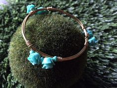 Flower bangle Only $15. handmade by #WineAndWires on Etsy