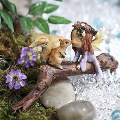 Miniature Kissing Fairy and Squirrel #fairygarden