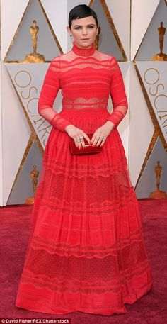 Once upon a time: Ginnifer Goodwin looked lovely in red Zuhair Murad, as she joined her husband Josh Dallas on the carpet