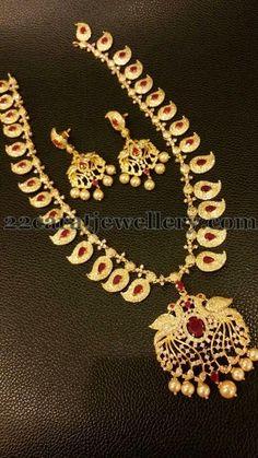 Jewellery Designs: 1 Gram Gold Mango Mala
