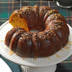 Rum-Glazed Pumpkin Cake Recipe- Recipes For years, my co-workers were taste testers as I worked on a recipe for pumpkin cake. This version wins, hands down.Gilda Smith, Santee, CA Pumpkin Cake Recipes, Cake Mix Recipes, Pumpkin Dessert, Dessert Recipes, Food Cakes, Bundt Cakes, Thanksgiving Cakes, Rum Cake, Cupcakes