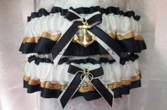 Military U.S. Navy garter set with an anchor by CreativeGarters