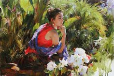 Original Painting, In her Garden by Michael & Inessa Garmash