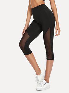 19e7943903e863 Sporty Regular Plain Black Knee Length Sheer Mesh Panel Leggings How To  Wear Leggings, Leggings