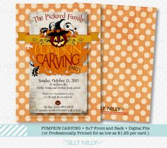 Halloween Pumpkin Carving Party printable invitation front