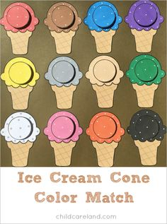 Ice cream cone color match for color recognition. I made the ice cream cones so they would fit on a sheet of cardstock paper for a square mat.here is an ice cream cone color match I made and wanted to share with youDesign by Shelley Lovett © 2017 All Rig Toddler Learning Activities, Color Activities, Preschool Activities, Kids Learning, File Folder Activities, File Folder Games, Ice Cream Theme, Preschool Colors, Matching Games