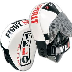 VELO Curved Focus Pads Hook & Jab Mitts,Boxing Punch Gloves Bag Kick Thai WHT