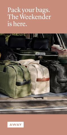 Meet The Weekender: a modern take on a travel classic, thoughtfully designed to travel just as well thrown over your shoulder as it does in the trunk of your car. Save 70 to 80 % on Resort to Cancun, Cabo, Orlando etc. Travel Goals, Travel Packing, Travel Luggage, Travel Backpack, Travel Usa, Travel Style, Travel Europe, Travel Design, Travel Fashion
