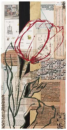 Robert Kushner, Gold Leaf Red Tulip, 2012. Oil, acrylic, gold leaf, and collage on paper, 36 x 18 inches. DC Moore Gallery, Robert Kushner: New Paintings/New Collages, Nov 8-Dec 21, 2012