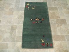 Man Cave Room Rug Hand Knotted 2' x 5' Modern Gabbeh Modern Setting