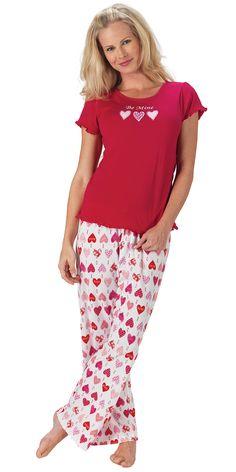 Be Mine TJs - Valentine's Day Pajamas from PajamaGram. $49.99 #ValentinesDay #Hearts #Pajamas