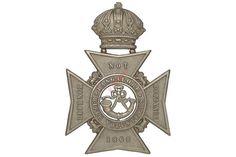 Badge. Indian Army. Bangalore Volunteer Rifles Victorian helmet plate. Good British made die-stam
