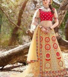 Buy cream net embroidery unstitched lehenga choli bridal-lehenga online