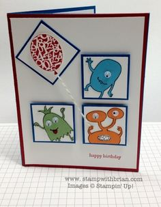 Make a Monster, Stampin' Up!, birthday card
