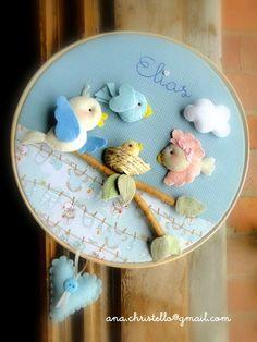 : Porta de maternidade p familia passarinhos