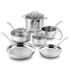 Cuisinart® Kitchen Pro™ Induction Stainless Steel 10-Piece Cookware Set…