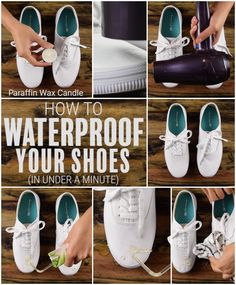 DIY How to make your shoes waterproof in under a minute! #hack #cleaning #shoes #waterproof #diy #babyfirst