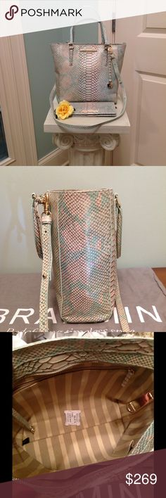 """Brahmin Small Harrison Carryall & Ady Wallet  NWOT NWOT Stylish Brahmin Sm Harrison Carryall with Ady Wallet with Snake embossed leather in Opal Seville !  Stunning Rainbow colors with iridescent finish that would be a perfect accessory for your wardrobe ! Wallet still has partial tag attached . Comes with a generous Crossbody / Shoulder strap with a 25 """" drop .This cute Tote is so Classy with striped jacquard lining , 25 """" , 6 """" handles , sm. Back pocket for phone !  Ady wallet has 12…"""