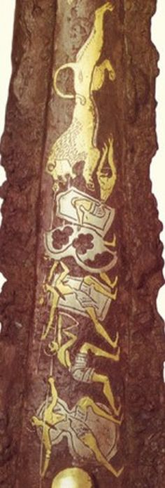 """One of the most famous representation of Achaean warriors is on the central rib of the """"Lion Hunt"""" dagger always from the shaft-grave IV in Mycenae (see also the page dedicated to the swords and the daggers).In this dagger two tower and two """"figure- of- eight shield"""" are represented. The internal parts of these body-shields are also visible with the relevant baldric """"Telamon""""(*2). The double edge is present all around the shields perimeter both inside"""