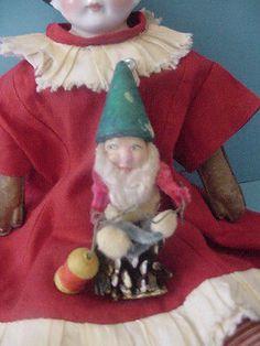 Old vintage antique German Spun Cotton Elf Santa Christmas Ornament figure