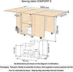Comfort 9 | Table pour Machine à Coudre | (Oak Kendal Cognac): Amazon.fr: Cuisine & Maison Table For Small Space, Small Spaces, Sewing Table, Amazon Fr, Floor Plans, House Design, Sofa, Furniture, Interior Design