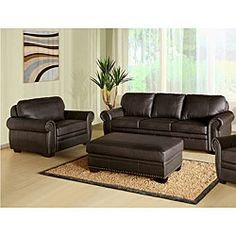 @Overstock.com - Abbyson Living Signature Italian Leather 3-piece Sofa Set - Add the look of luxury to your living room with this beautiful leather sofa set that includes plush no-sag cushions. The three-piece set, featuring brass nail head trim, includes a large dark brown sofa, chair, and an ottoman that opens for storage.  http://www.overstock.com/Home-Garden/Abbyson-Living-Signature-Italian-Leather-3-piece-Sofa-Set/5072532/product.html?CID=214117 $2,251.99