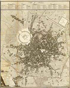 Giacomo Pinchetti, Città di Milano, 1801. La carta rappresenta il progetto di Giovanni Antolini per il Foro Bonaparte
