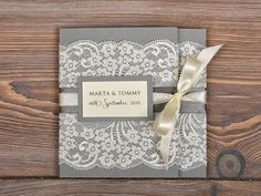 Ivory Lace  Wedding Invitation, Pocket Fold Wedding Invitations , Vintage Wedding invitation on Etsy, $8.40 AUD