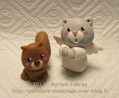NOEL - Creche kawaii, ange chat et écureuil - Pâte polymère Fimo (polymer clay nativity) - 2012 - Myriam Lakraa Créations