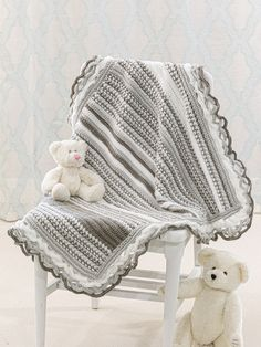Crochet - Crocheted in 2 shades of gray and white, this blanket works for boys and girls! Made using worsted-weight yarn and a variety of stitches, including back loop single, half double and double crochet. Finished size: x - Baby Afghan Crochet Patterns, Bobble Crochet, Crochet Poncho Patterns, Baby Blanket Crochet, Baby Patterns, Crochet Baby, Crochet Blankets, Crochet Stitches, Baby Afghans