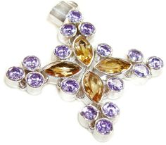 Sale: Amethyst and Citrine Sterling Silver Cross by EDennis