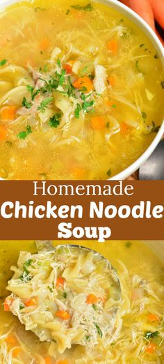 Homemade chicken noodle soup is healthy and nutritious classic soup made from scratch with homemade stock and loaded with chicken and vegetables. Finish it with fresh herbs and lemon juice. with chicken stock Homemade Chicken Noodle Soup Homemade Chicken Soup, Chicken Soup Recipes, Recipes With Chicken Stock, Recipes With Chicken Broth, Chicken Soup Seasoning, Homemade Chicken Vegetable Soup, Quick Chicken Noodle Soup, Quick Soup Recipes, Healthy Chicken Soup