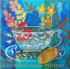 Teacup with Biscuit fine art print by RobinMariaPedrero on Etsy