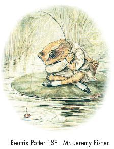 Beatrix Potter's Mr Jeremy Fisher is what i based Isaac's nursery theme on