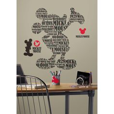 Mickey & Friends Typography Mickey Mouse Peel & Stick Giant Wall Decal | Overstock.com