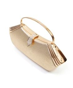New Women's Gold Vintage Style With Metallic Handle Evening Bag EB093404
