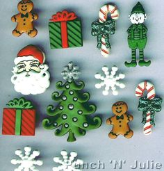 MM CHRISTMAS Santa Tree Elf Gingerbread Man Snowflake Dress It Up Craft Buttons
