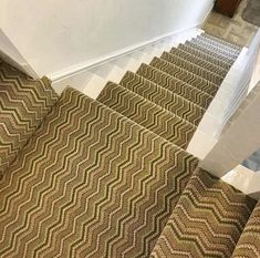 This staircase looks stunning with our Deco ZigZag range! Painted Stairs, Wood Stairs, Carpet Stairs, Carpet Flooring, Modern Entrance, Victorian Design, Staircase Design, Carpet Runner
