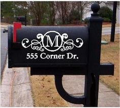WHY HAVEN'T I THOUGHT OF THIS!?! The picture is of a mailbox decal you can special order, but this would be so easy to paint or stencil as well! New Mailbox, here I come!!