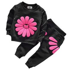 FYI  Toddler Baby Girls Sunflower Clothes Set Long Sleeve Top and Pants  Outfits Fall Clothes (Black a701b7199
