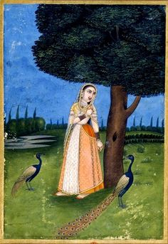 Kakubha Ragini. Flanked by peacocks, the heroine is 'tormented by separation' from her beloved. Rajput, Provincial Mughal, 18th century.