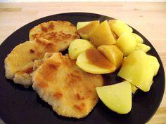 Sellerie-Schnitzel paniert mit Kartoffeln und brauner Söss. Rockt!