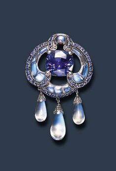Moonstone and sapphire brooch by Louis Comfort Tiffany, Tiffany & Co., c. 1910 -1915
