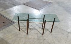 MCM Wood Pole Glass Top McGuire Style Sofa Table  —
