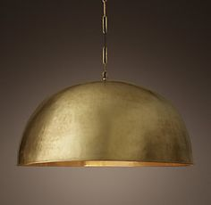RH's Grand Brass Dome Pendant of brass and dramatically scaled, our pendant is a statement piece. The rounded industrial form is softened by its hand-hammered texture, and the warm, burnished brass finish reflects light beautifully. Residential Lighting, Garden Studio, Chandelier Lighting, Chandeliers, Lighting Solutions, Spanish Style, Restoration Hardware, Great Rooms, Design Inspiration