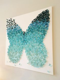 Aqua Turquoise Ombre Wings Butterfly Shape Canvas Art Whimsical Girls Nursery Room Wall Art Unique Custom Color Personalized Gift Aqua Turquoise Ombre Wings Butterfly Shape Canvas Art Whimsical Girls Nursery Room W Butterfly Wall Art, Butterfly Shape, Butterfly Crafts, Butterfly Decorations, Butterfly Bedroom, Butterfly Mobile, Butterfly Background, Monarch Butterfly, Gray Background